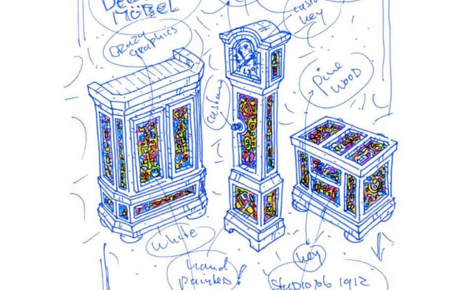 4/8 Sketches of the Altdeutsche furniture collection include the decorative sculls, roses, keys and feathers.