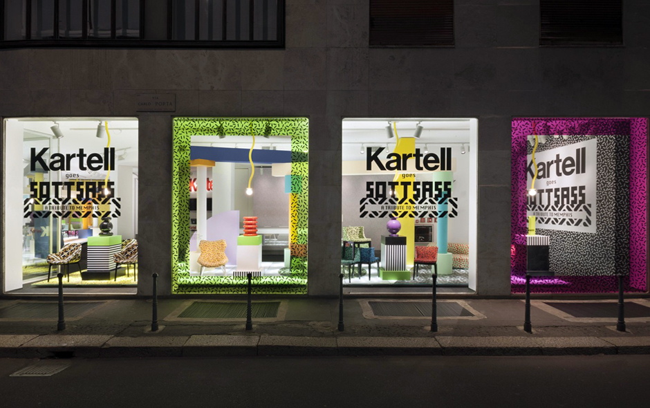 2/2 The Kartell flagship store in Milan featuring a Memphis-fueled interior designed by Ferruccio Laviani.