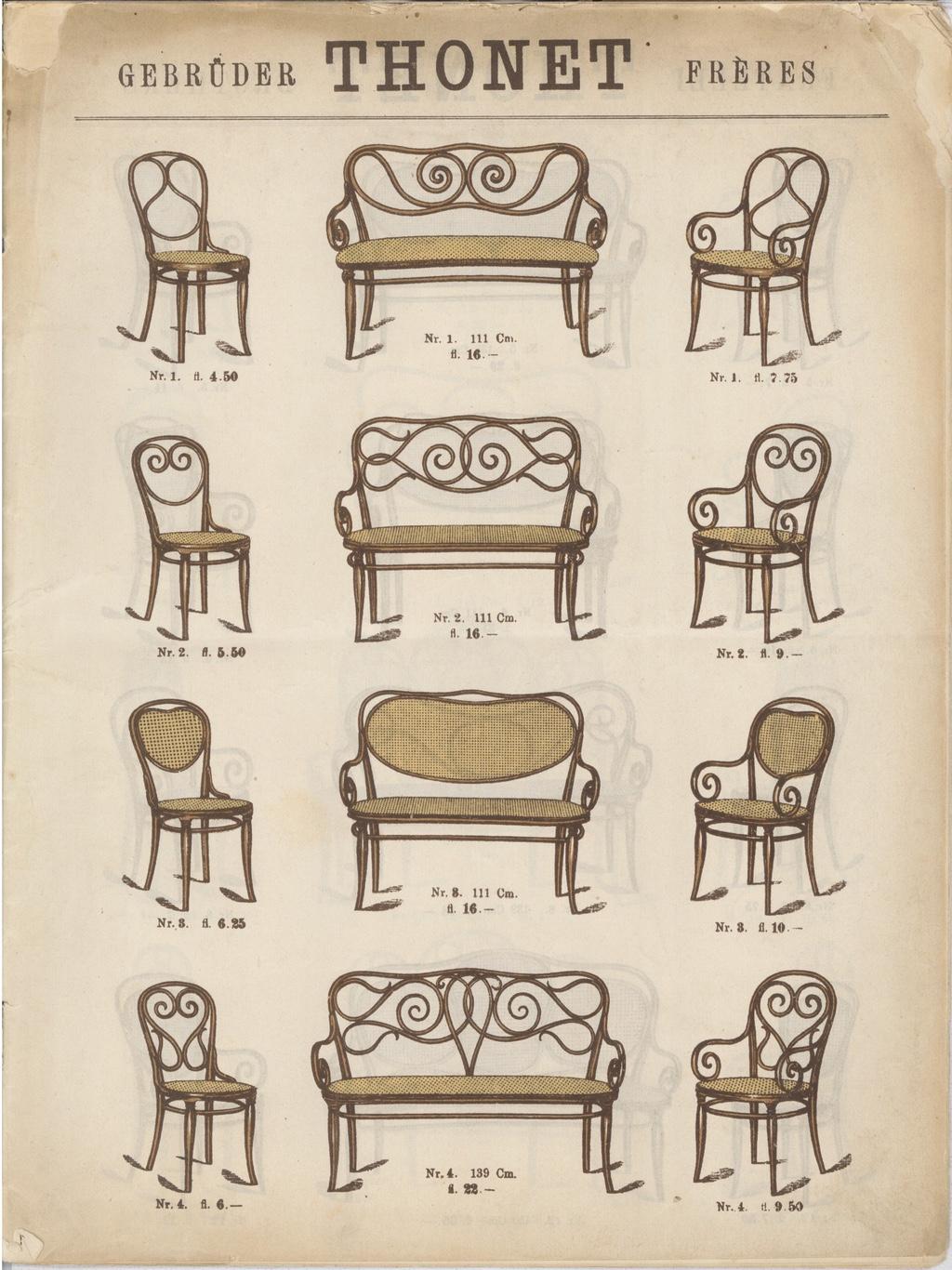 An 1886 Gebruder Thonet catalogue via Museum of Bonnard.