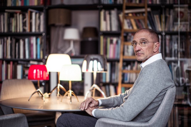 Designer Rodolfo Dordoni with his Lumiere lamps for Foscarini.