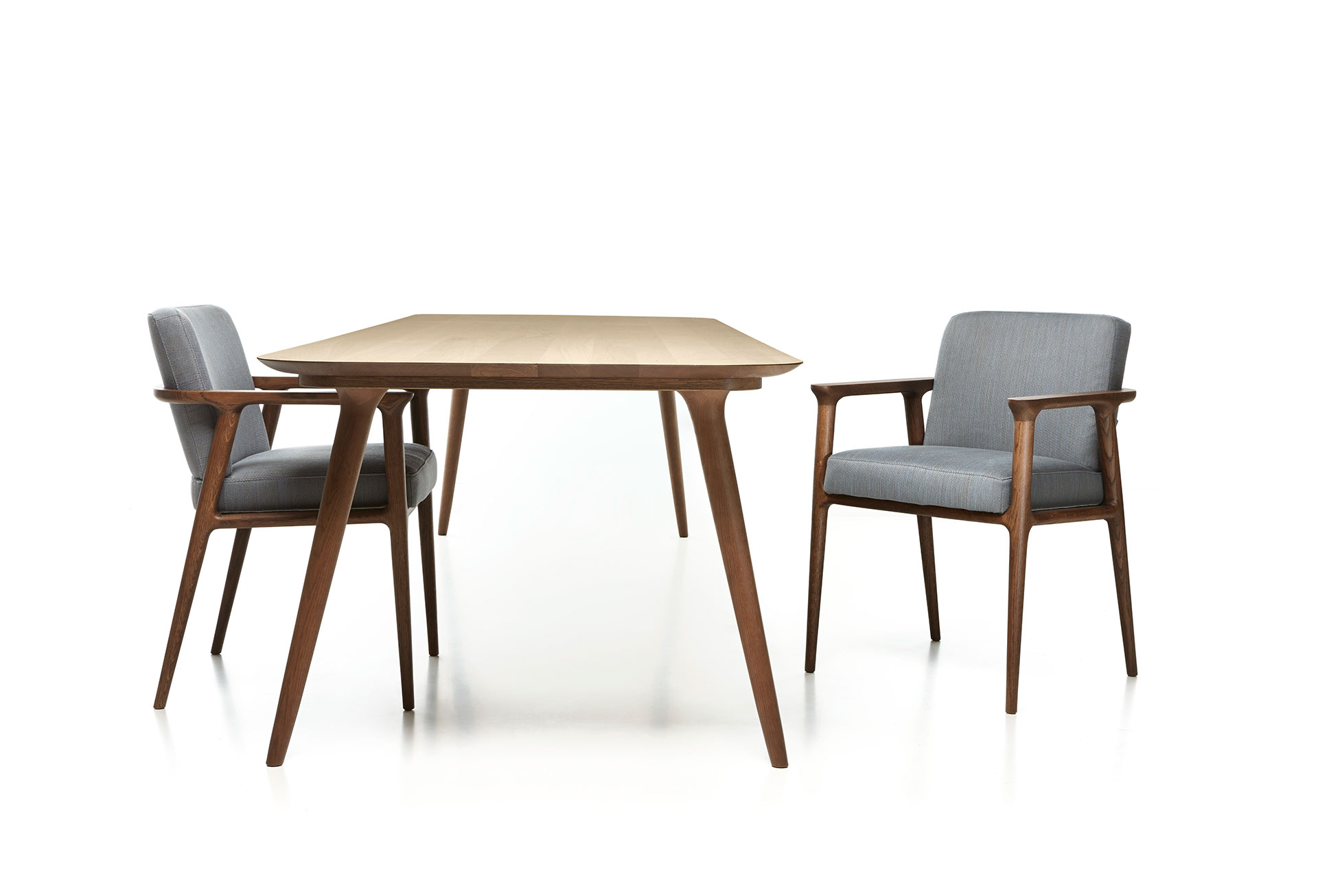 The Moooi Zio dining table and dining chairs.