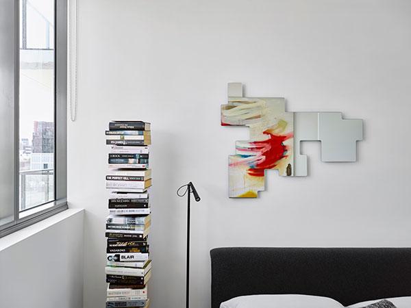 Opinion Ciatti Ptolomeo bookcase , Glas Italia Space Invaders mirror,  Foscarini Magneto floor lamp  and  B&B Italia Siena bed .