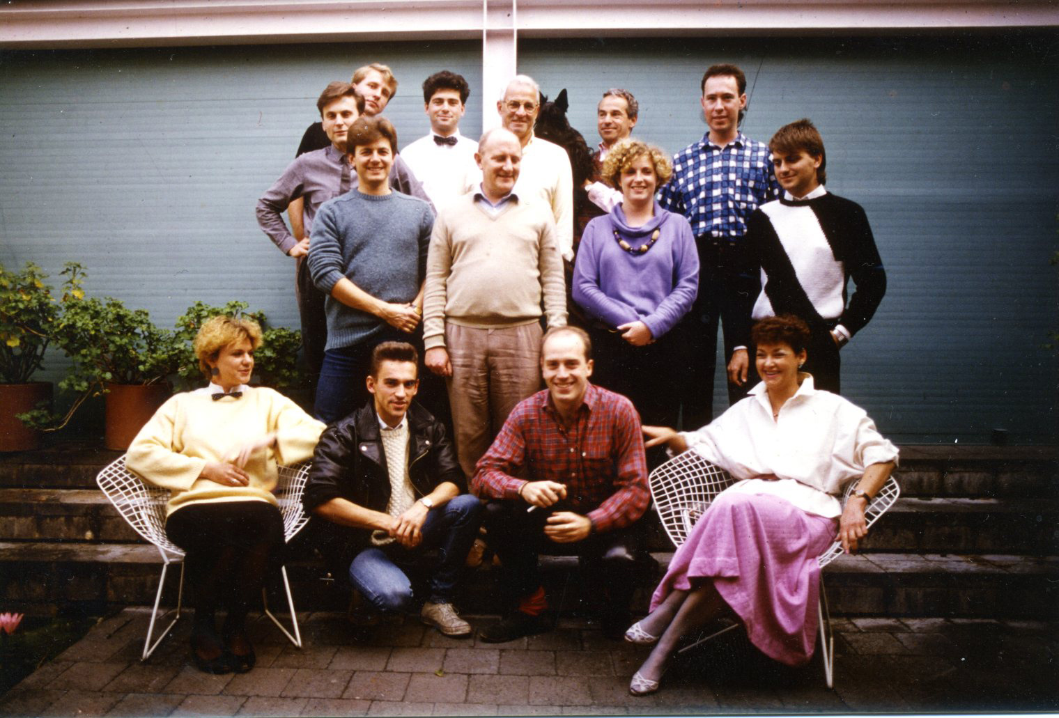 The Marsh Freedman team in 1988. Sam Marshall is on the left, second from the back.George is holding one of his much loved Scottie dogs. Photo courtesy MFA.