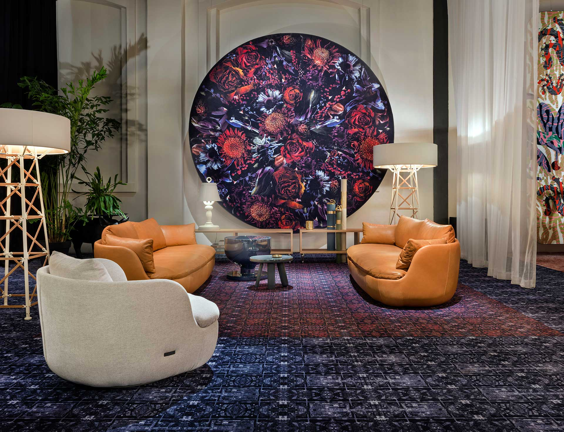 In Milan in 2016, Moooi  Bart sofas ,  Construction lamps  and a  Moooi Carpet on the wall. Photo Andrew Meredith for Moooi.