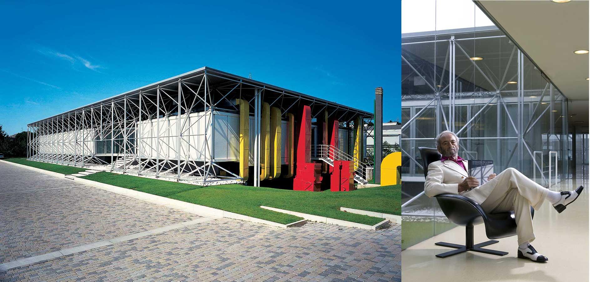 B&B Italia Headquarters in Novedrate, Italy, designed by Richard Rogers and Renzo Piano. Portrait of B&B Italia founder Piero Ambrogio Busnelli.