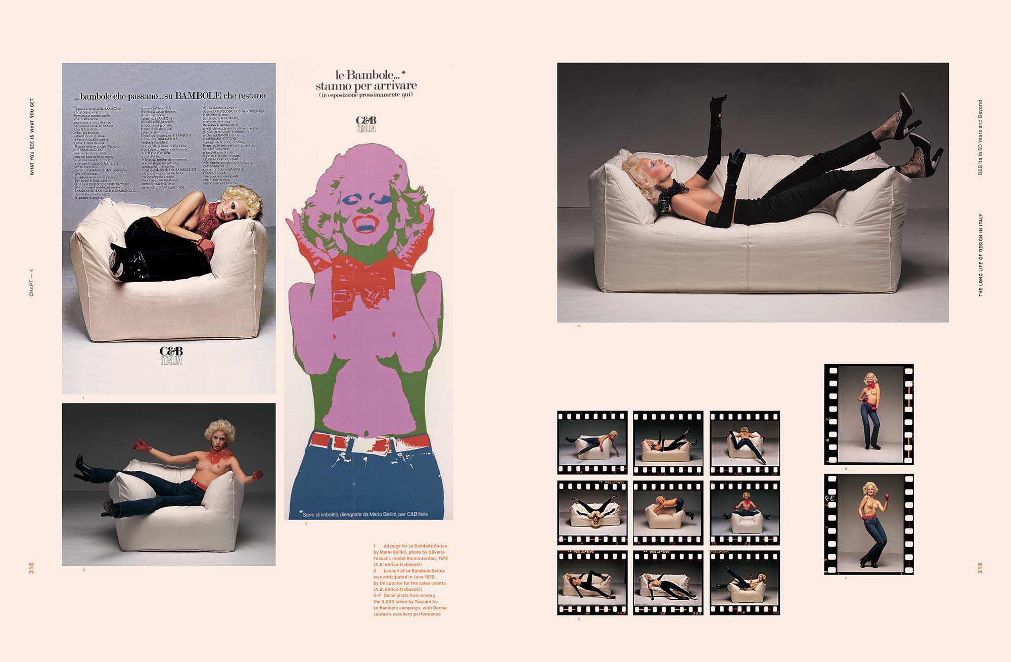 Some historic pictures of the Le Bambole, designed by Mario Bellini in 1970-1972, feature in B&B Italia's latest book,  The Long Life of Design in Italy: B&B Italia 50 Years and Beyond .