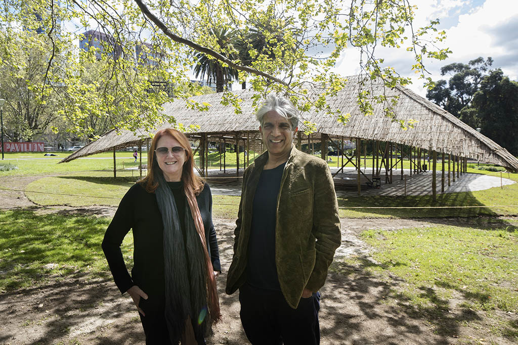 MPavilion founder Naomi Milgrom and architect Bijoy Jain. Photo: John Gollings