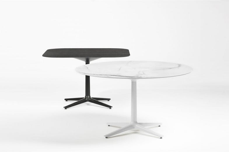 3.  Multiplo table   The Multiplo industrial table line was designed with the contract market in mind. The concept allows for customisation by playing with form and different combinations of bases and table tops. The versatility allows for different finishes to be introduced to the family.