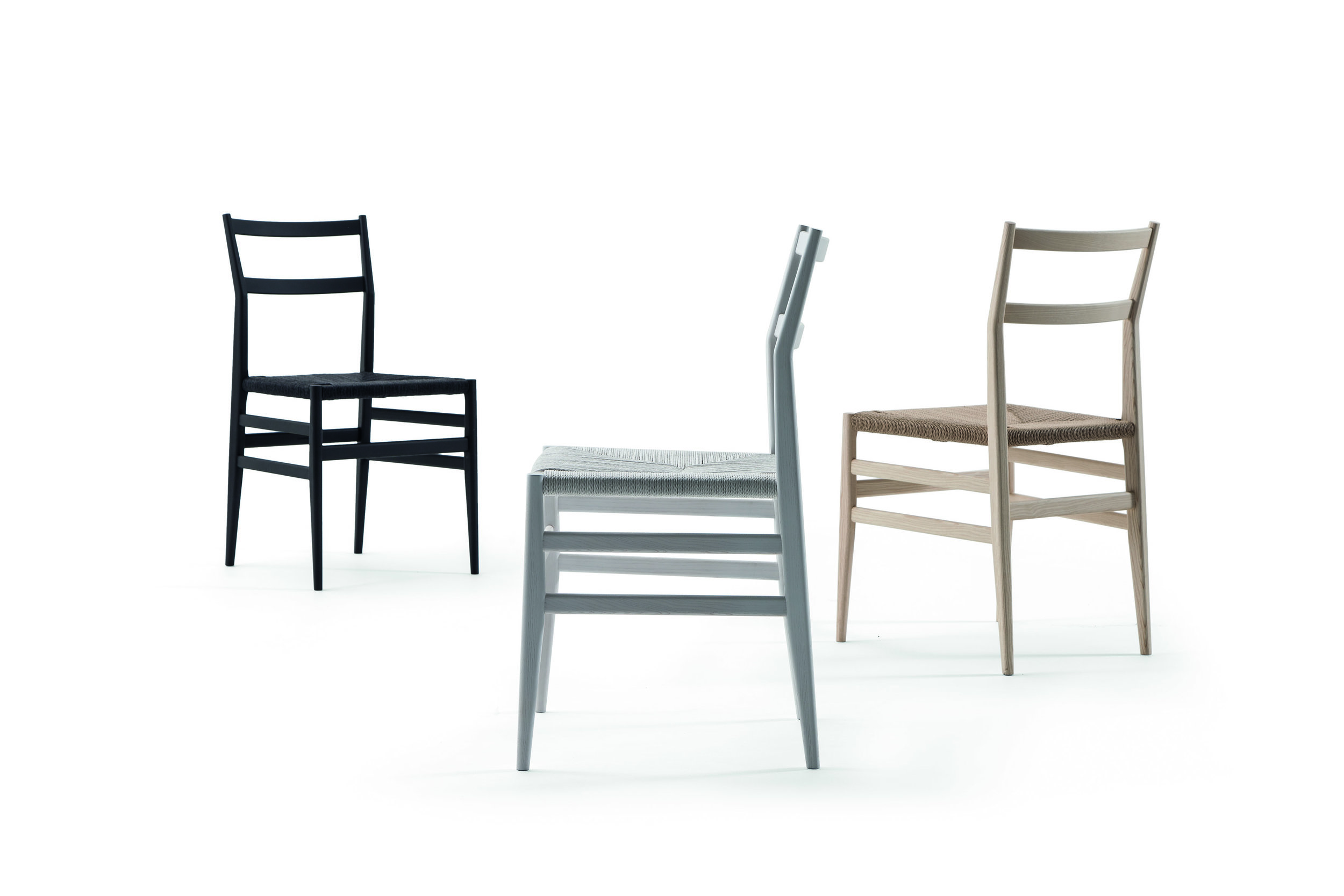 Gio Ponti's 646 Leggera collection designed in the 1950s for Cassina, now updated with new colours and upholstery.