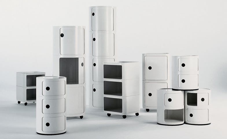 The Componibili modular container system designed by Anna Castelli Ferrieri for Kartell in 1967 (square) and 1969 (round).