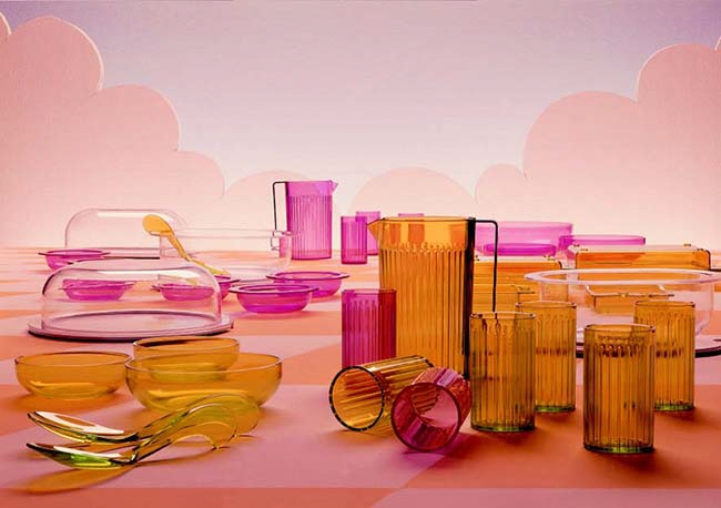 The first accessories collection for Kartell designed by Anna Castelli Ferrieri in the 1960s inspired the latest Jellies Family designed by Patricia Urquiola in 2015 (below).Photo courtesy Kartell.