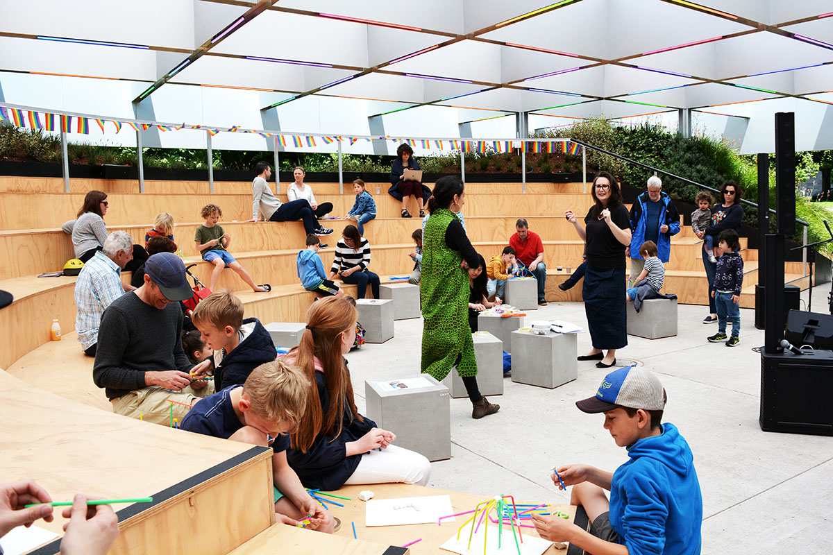 Tania Davidge and Christine Phillips of OpenHAUS running the Design Your Own Pavilion workshop at the MPavilion. Photo by Vei Tan.