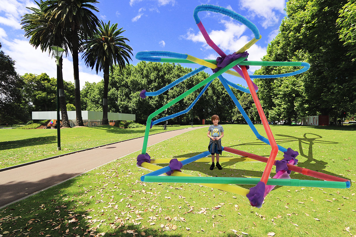 Pipe cleaners, coloured straws and plasticine were the tools of choice for this pavilion of the future designed by Max DC. Collage by Sammy Kudret, Wenrong Cai and Tania Davidge.
