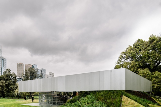 The MPavilion by OMA in the Queen Victoria Gardens, Melbourne. Photo by Tim Burgess.