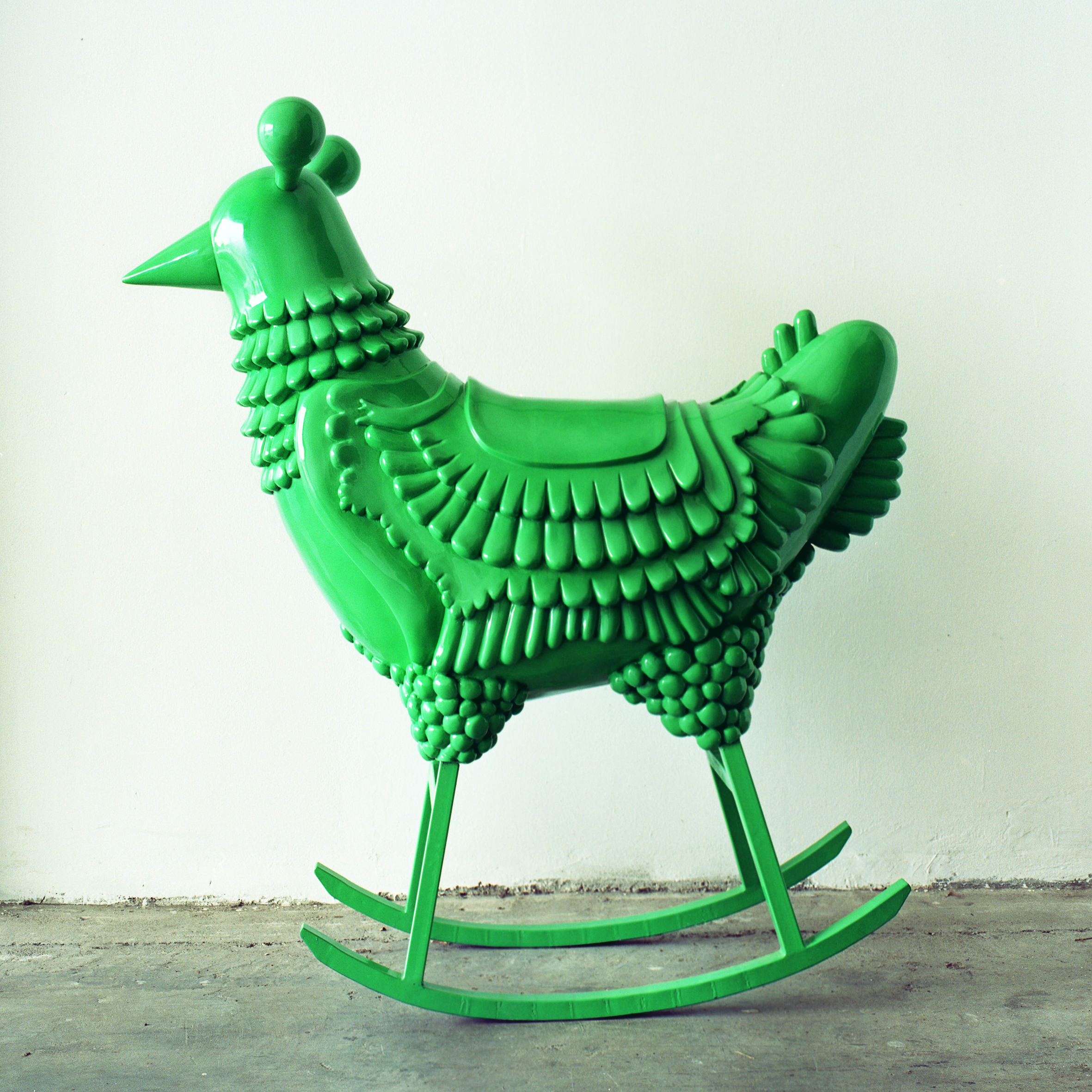 Jaime Hayon's scaled up Green Chicken transforms the humble bird into something sensation, turning it into a modern design piece.