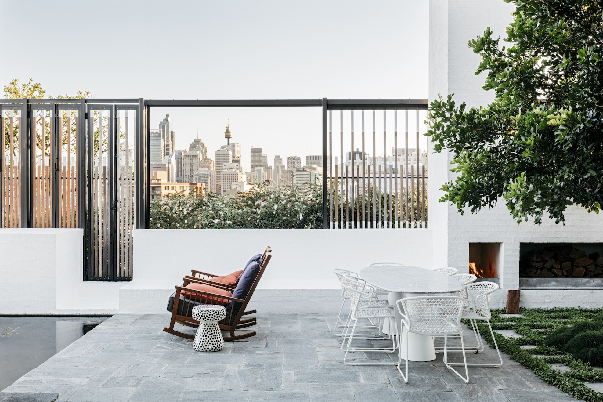 The apartment's birds-eye view over Sydney to the Blue Mountains. Photography Felix Forest.