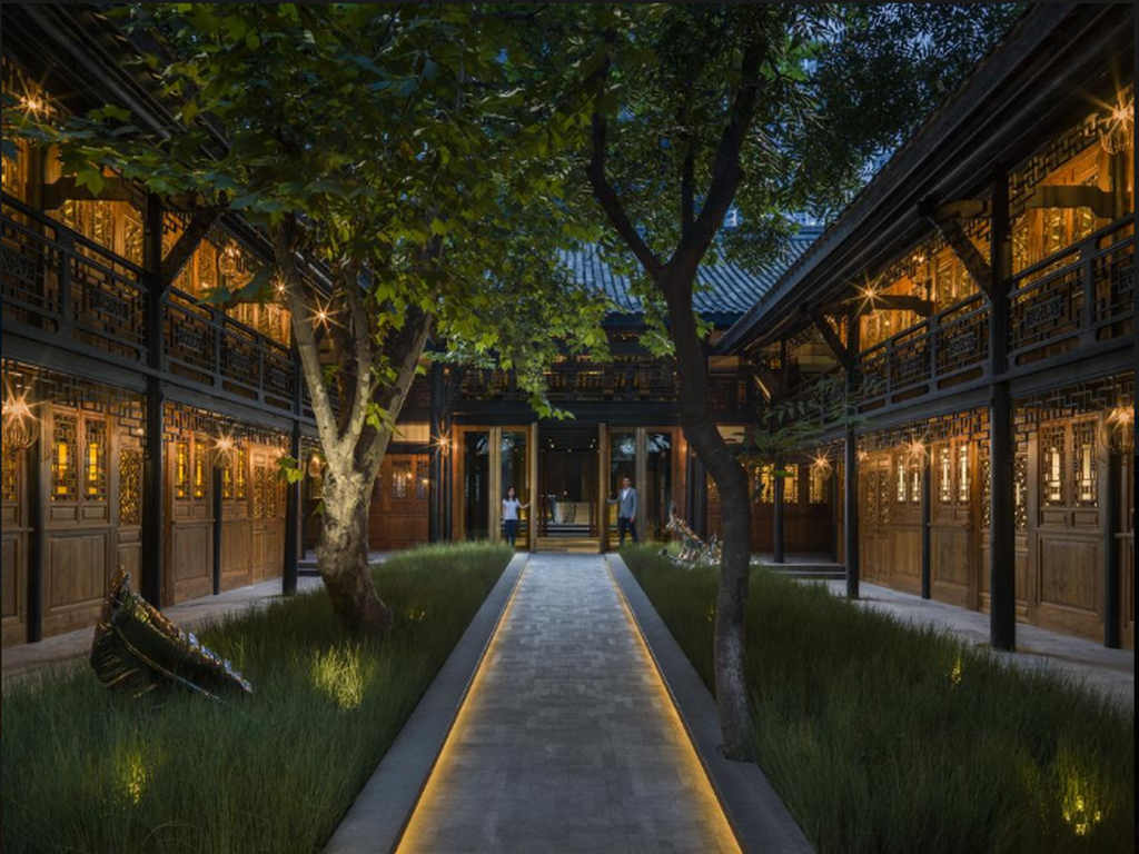 The central courtyard of Temple House by Make architects was inspired by traditional paddy fields that surround the hotel.