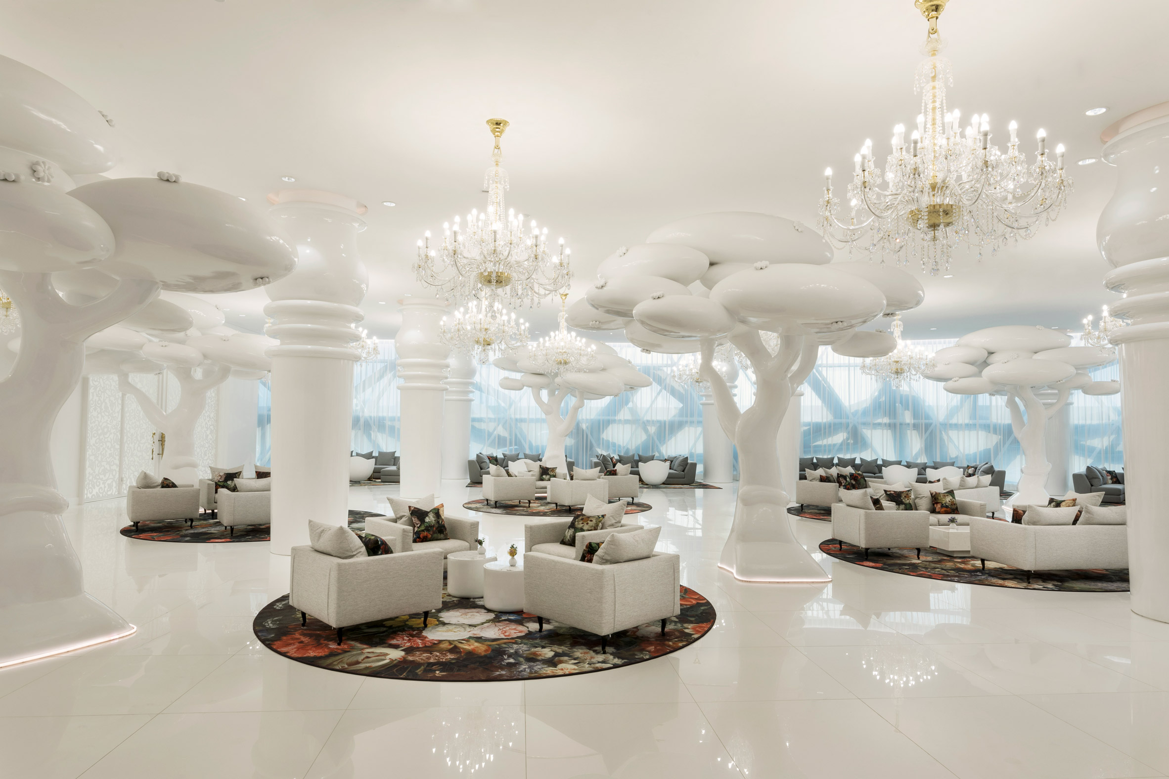 Golden eggs, mosaics, Moooi Carpets and an overcalled spiral staircase feature at the  Mondrian Hotel in Doha designed by Marcel Wanders in 2017.