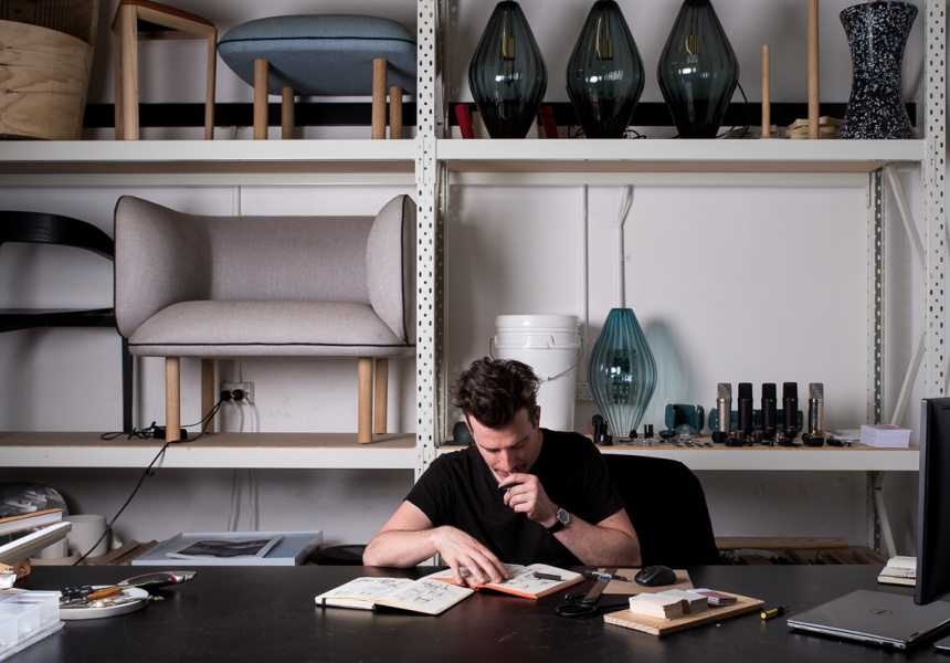 Tom Fereday in his Sydney studio where more than 80% of his design output happens in collaboration with brands including the recently launched Australian furniture brand SP01 Design.