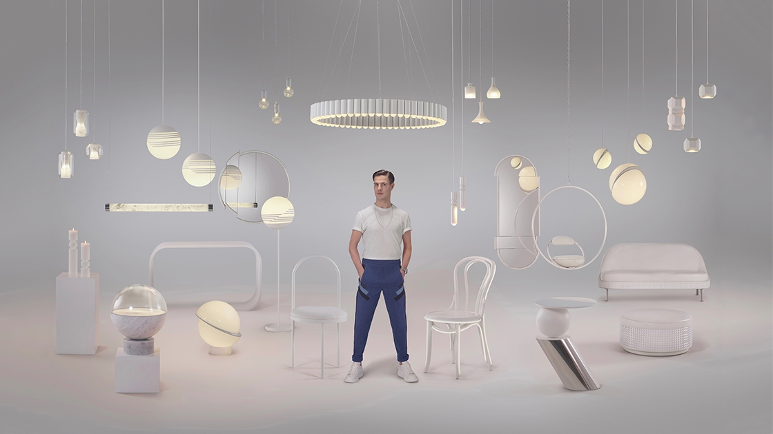 Lee Broom with some of the designs from the Lee Broom collection. Photo Arthur Woodcroft.