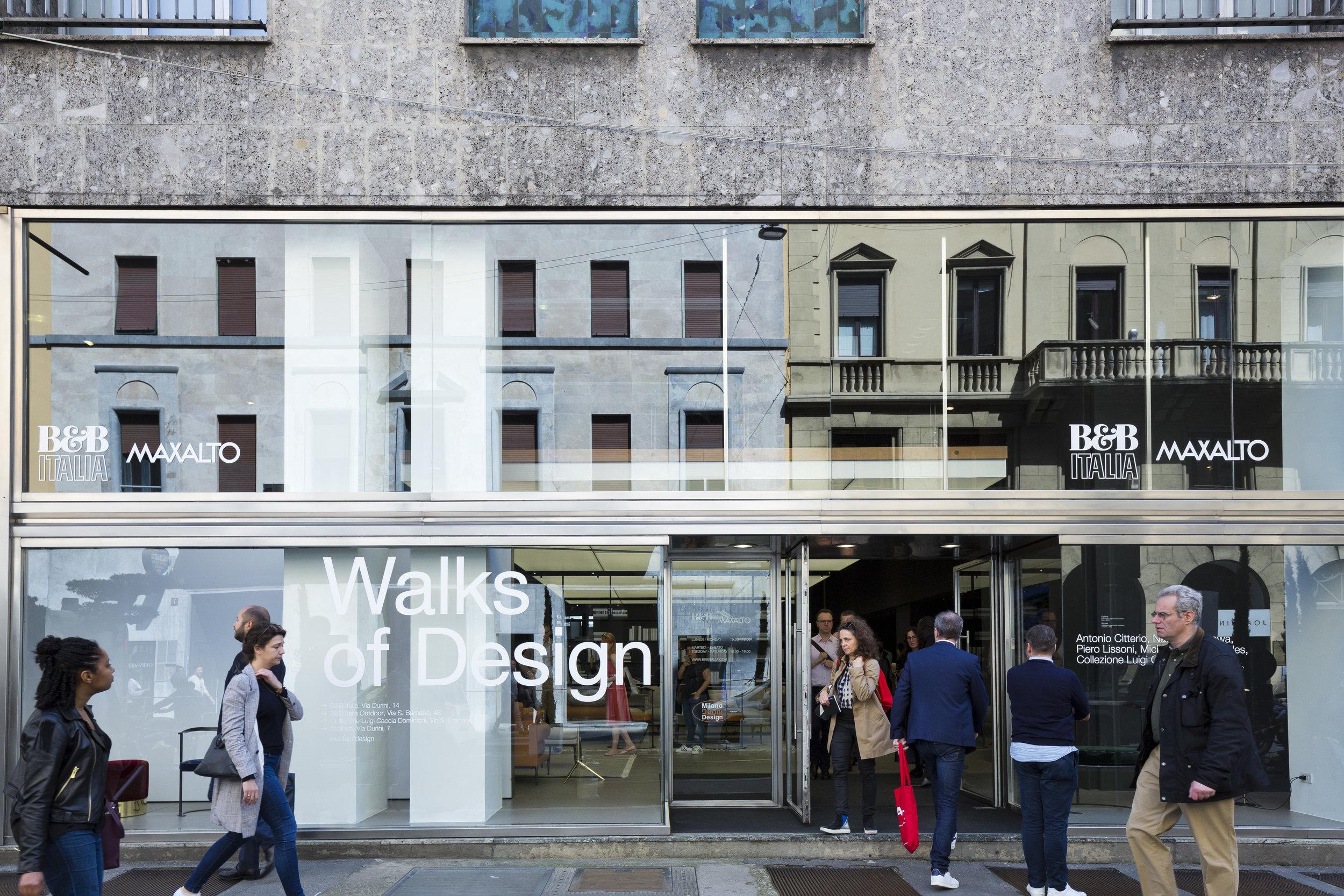 'Walks of Design' exhibition at B&B Italia on Via Durini, featuring new designs by Antonio Citterio, Naoto Fukasawa, Piero Lissoni and Michael Anastassiades.