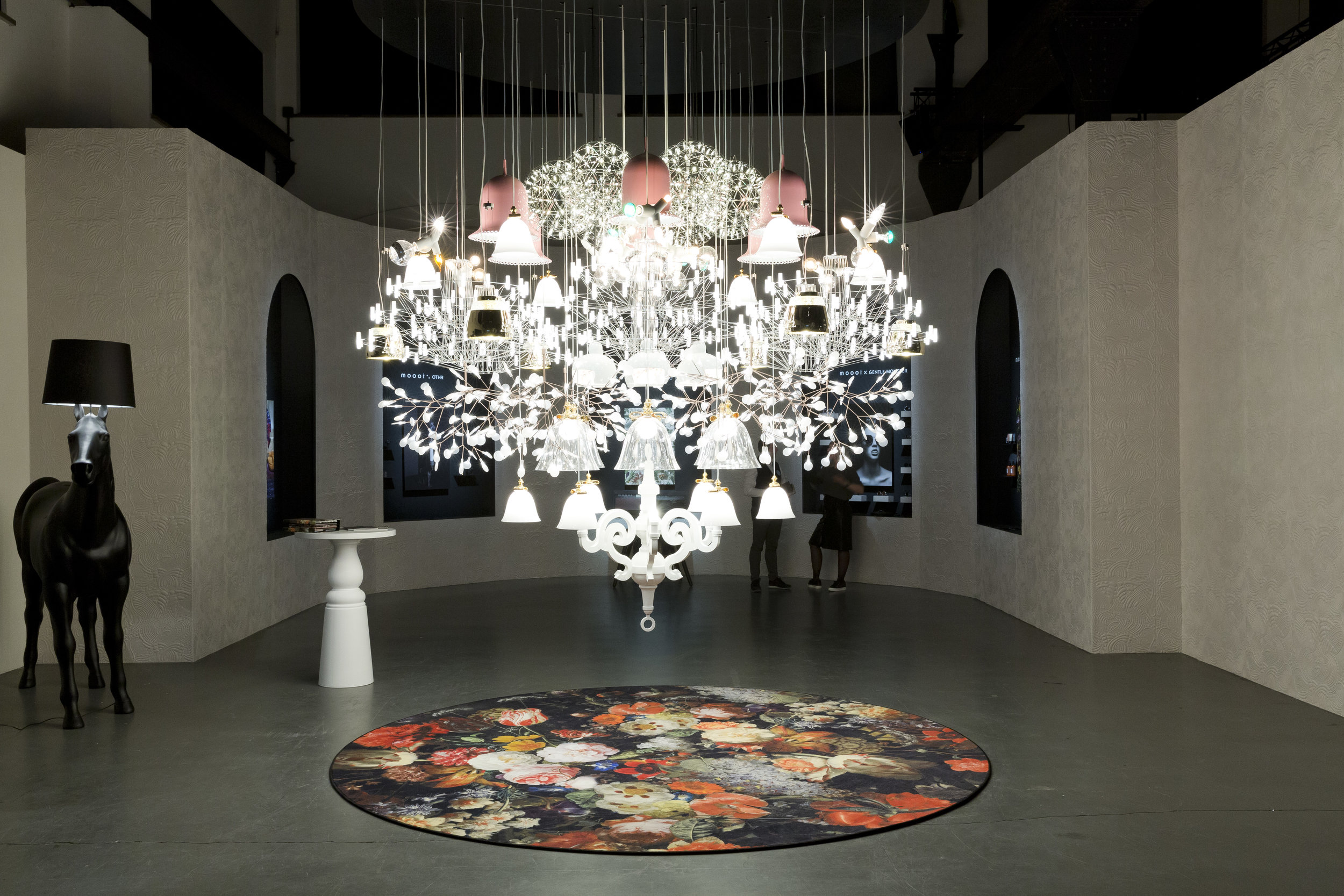 Moooi's Mega Chandelier by Moooi Works takes centre stage at their 'A Life Extraordinary' show.