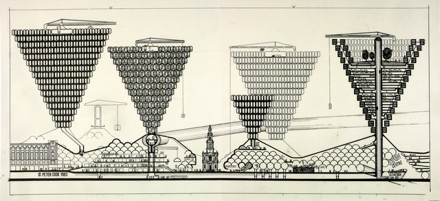 Architect Peter Cook's ideas for the 'plug-in-city' influenced by Pop Art and science fiction and imagined cities that were dynamic, flexible and enjoyable.