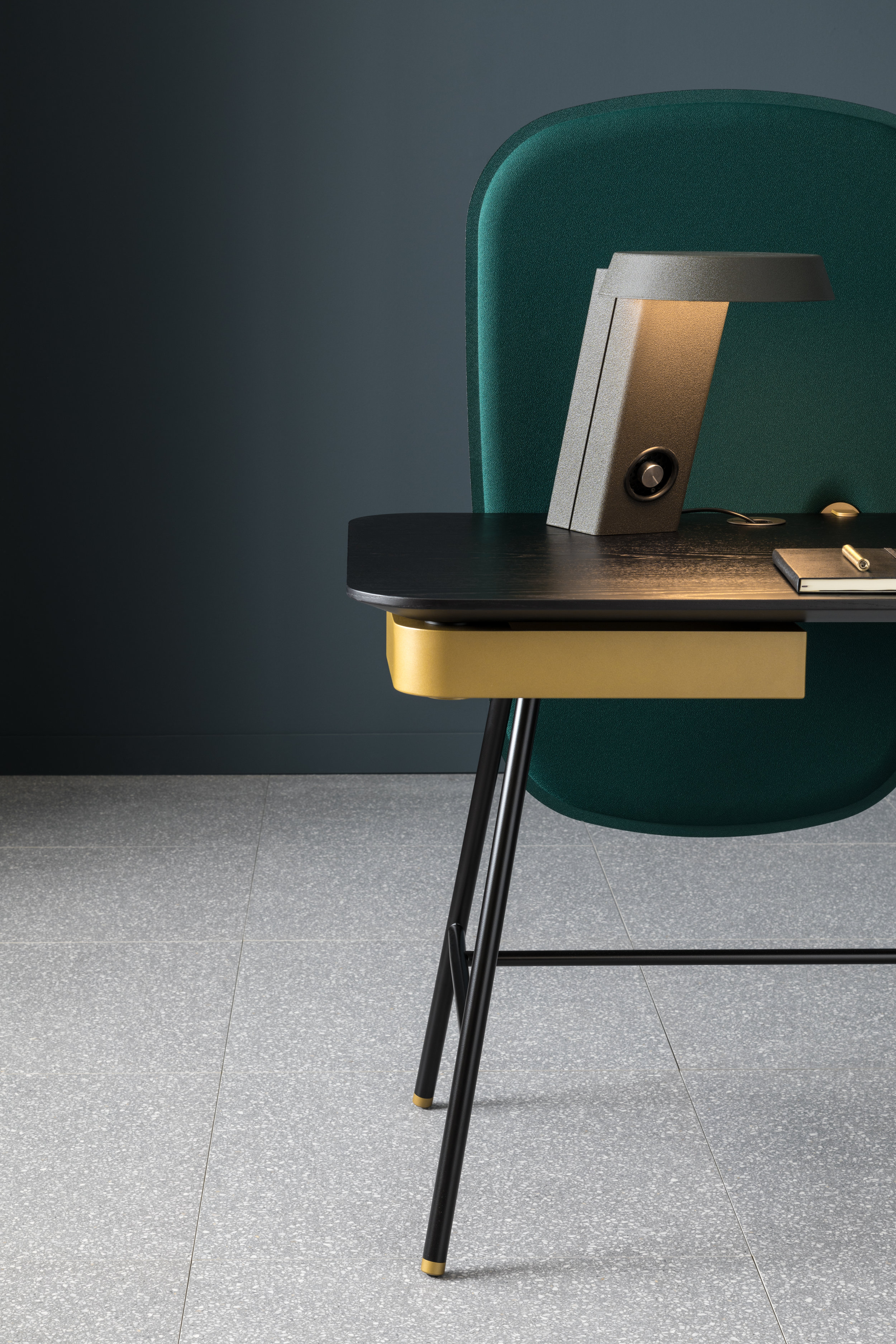 The Holland desk with its beautifully integrated drawer.