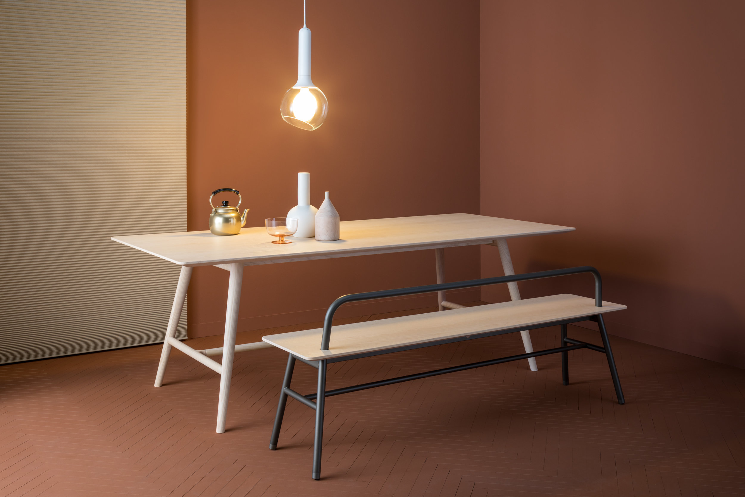 The expanded Holland collection includes a new bench seat and table.
