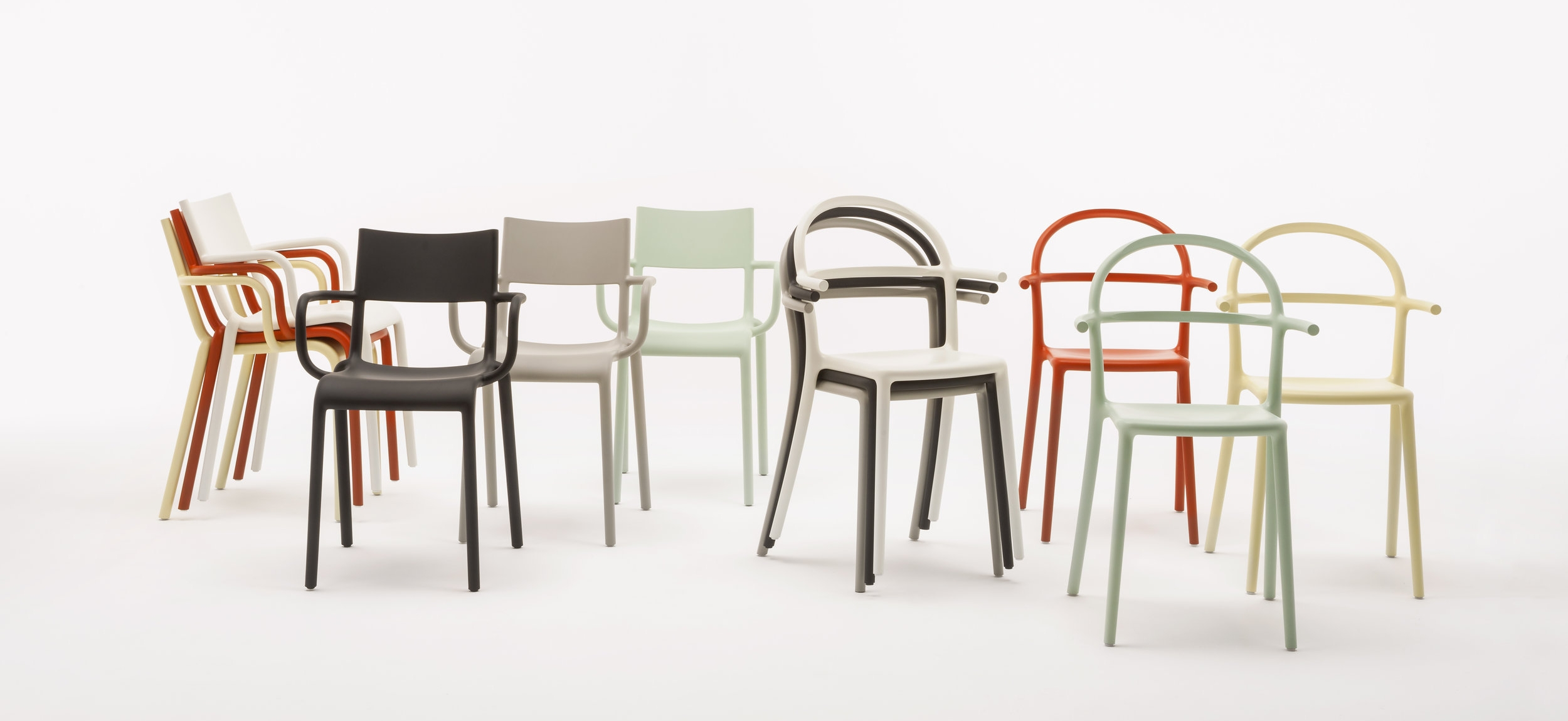 The Generic collection, the A chair for the office, and the Generic C chairs for restaurants. But like all of Starck's design, each chair is interchangeable and flexible across applications.