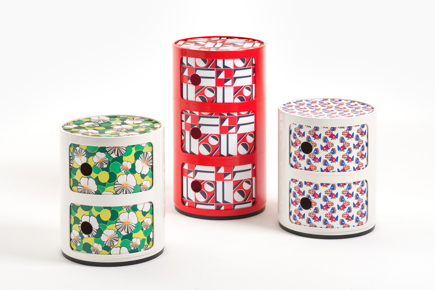 The Componibili by Kartell founder Anna Castelli Ferrieri is relaunched as a smaller two-story piece printed in Ninfea, Geometrica and Galletti prints. The Galletti vintage pattern originally designed in the 1970s was sourced from the Italian archives of Mantero Seta, one of Lake Como's oldest silk manufacturers.