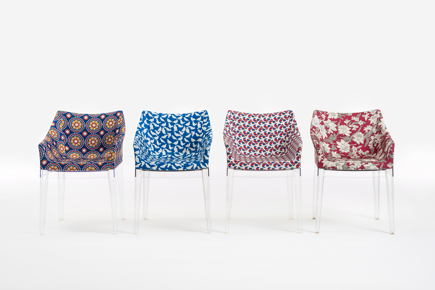 The Madame chair by Philippe Starck is reimagined in four prints – .Ruote, Uccellini Blu, Galletti and Lilium. The Ruote pattern hails from the archives of Zurich-based Abraham silk, the manufacturers behind Dior's New Look collection that blasted Europe with colour after WWII.