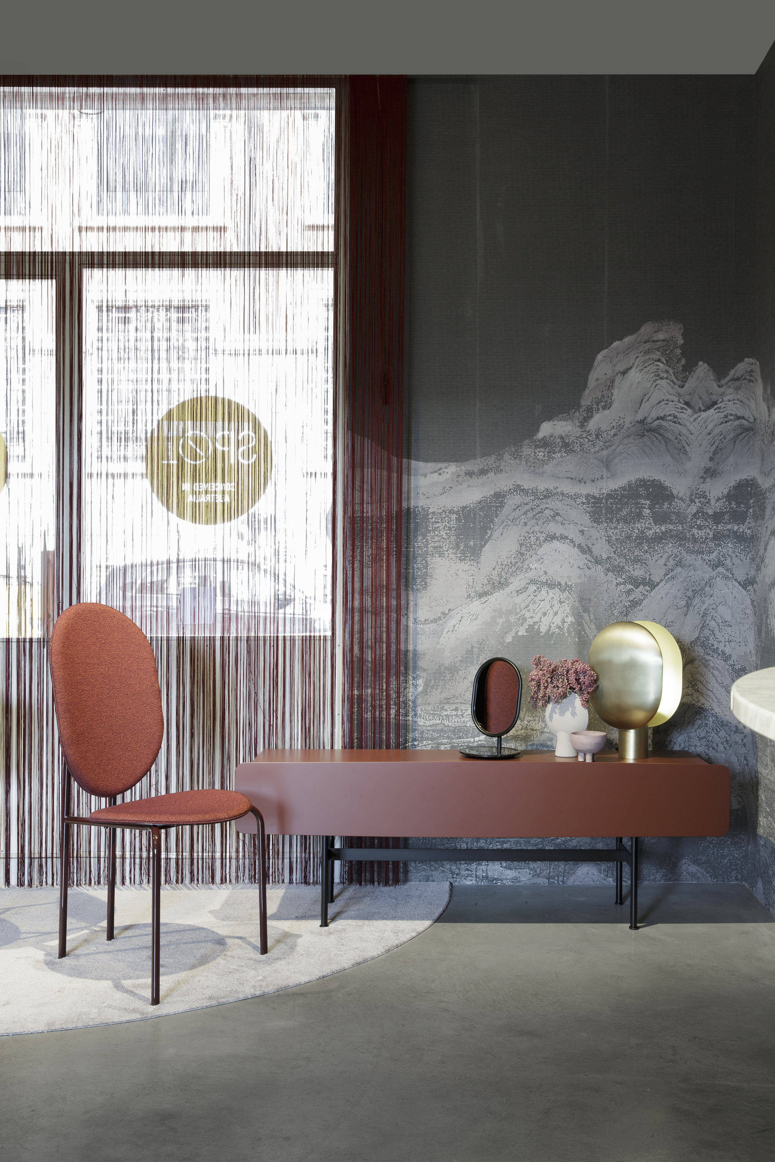 The new Michelle chair, and mirror additions, with the Yee Storage credenza. Images © SP01.