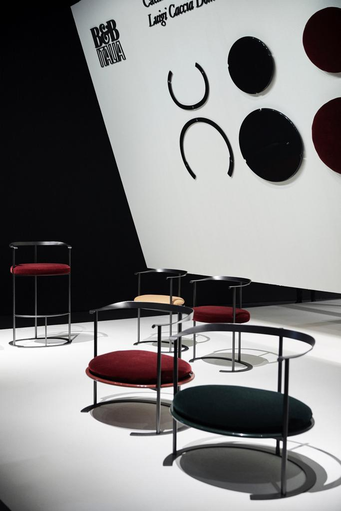 Caccia Dominioni's iconic ABCD armchairs on show at B&B Italia. Photo © B&B Italia.