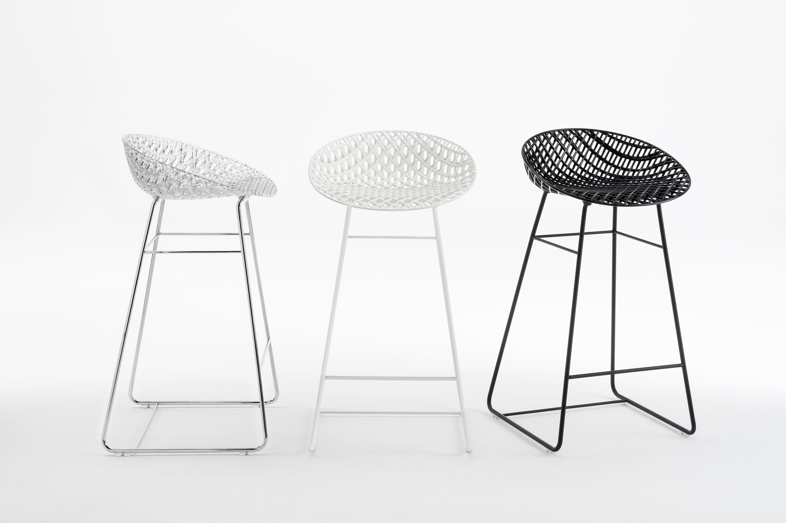 The new S/Matrik stool by Japanese designer  Tokujin Yoshioka  joins the family of chairs created by  Yoshioka  in 2017. Photo © Kartell.