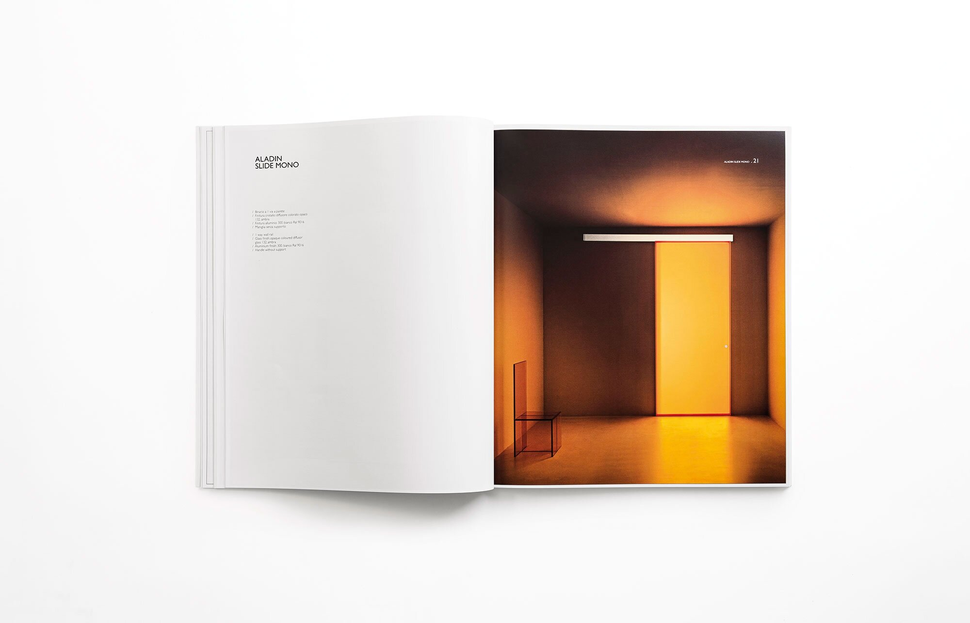 The Aladdin pocket door system (here and below) was the first door collection designed by Piero Lissoni for Glas Italia and it established a design approach focused on the application of glass textures and colours to architectural components. Book designed by Lissoni Associati. Photo c/o Glas Italia.