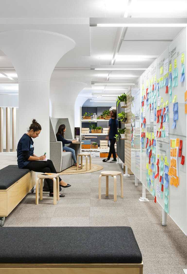 The Atlassian lab space (here and below) was the company's second Sydney location and it gave the Hassell design team a place to test ideas, including ways to build community across two locations. Photography © Nicole England.