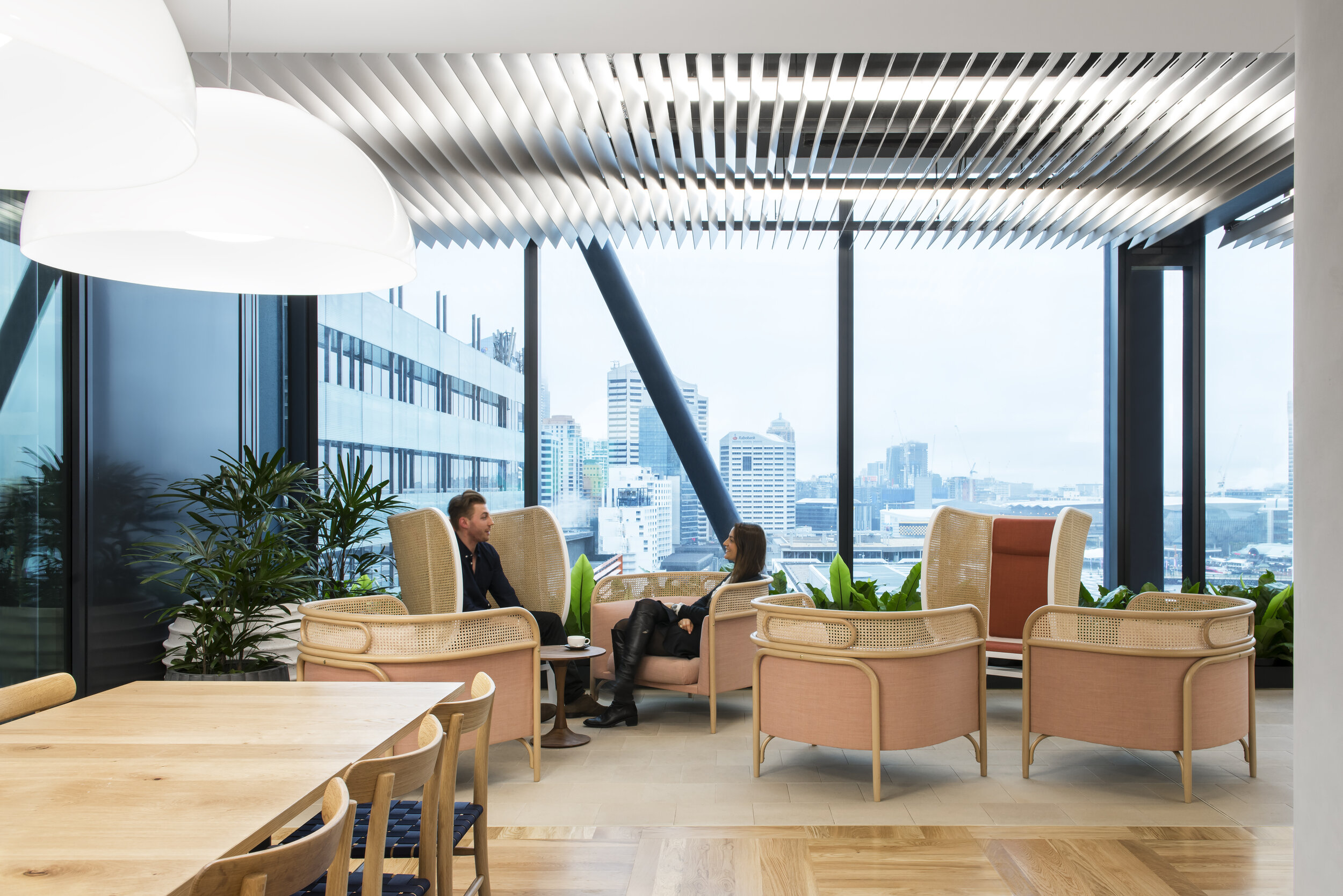 Lendlease at Barangaroo in Sydney has spaces for smaller group meetings that are designed to be casual and relaxing. Here, furniture selection is key to the interior experience with softer pieces by GTV including the Targa and Hideout armchairs that blur the line between work and home.  Photography © Nicole England.