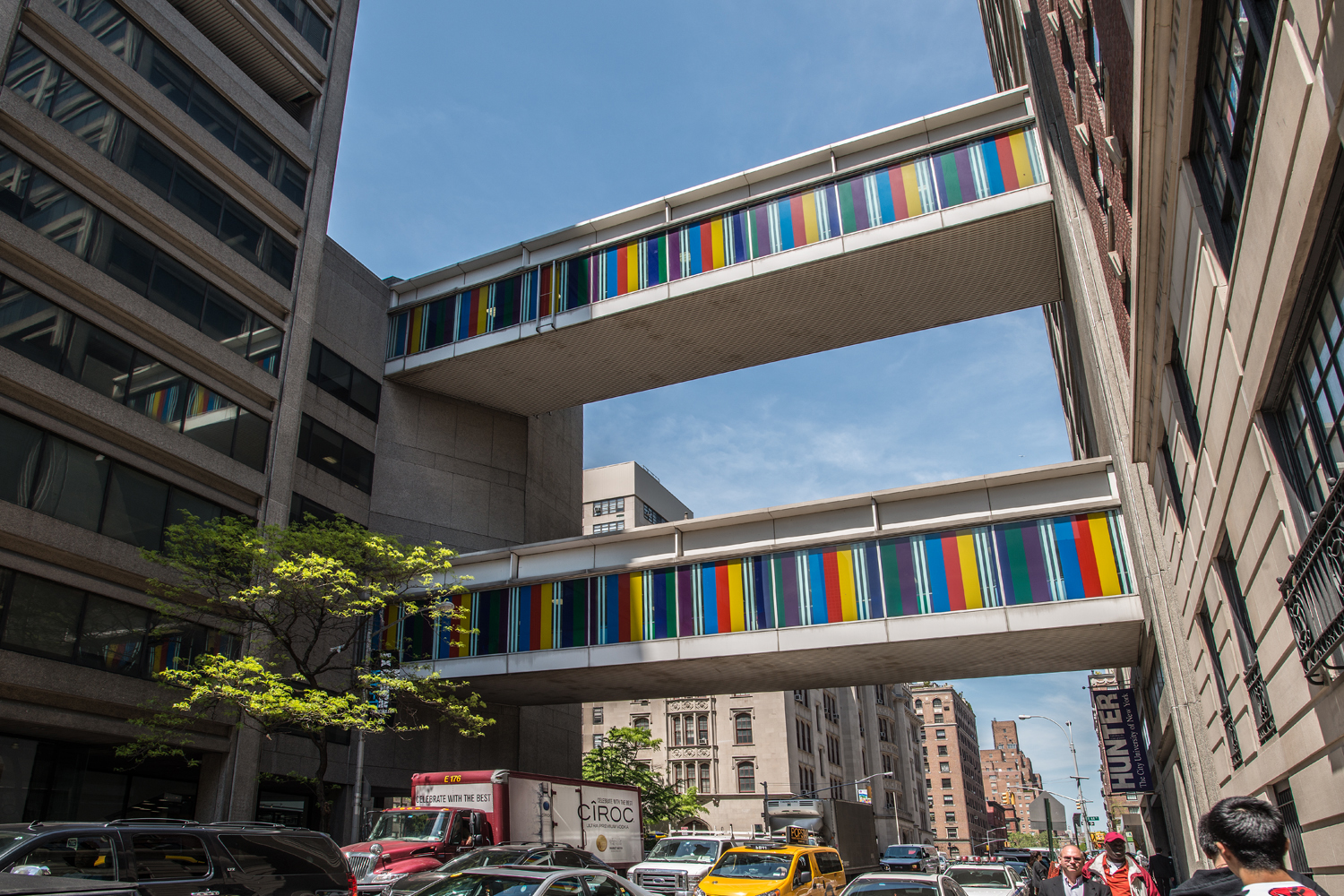 Bayadères for Two Skywalks by Daniel Buren, Hunter College