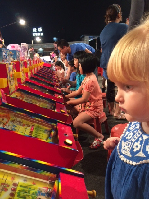These are pinball-type games that are very popular with kids at the night markets in Tainan.
