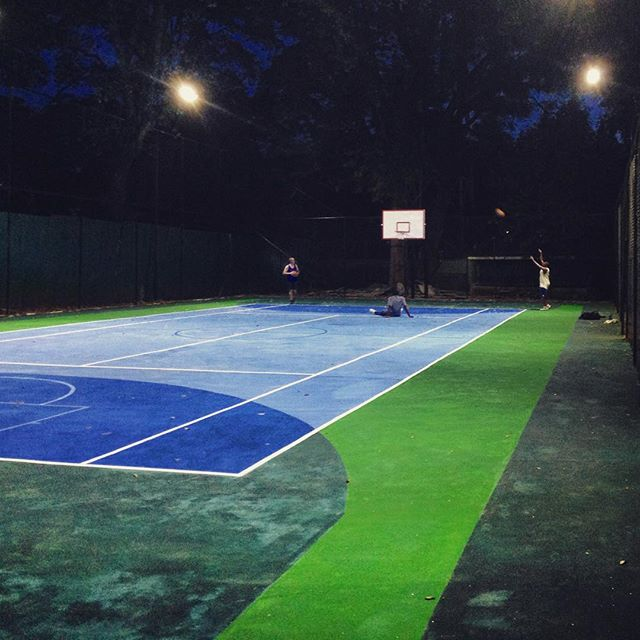 Warming up for a night game on the new #AmaniGardensInn basketball court