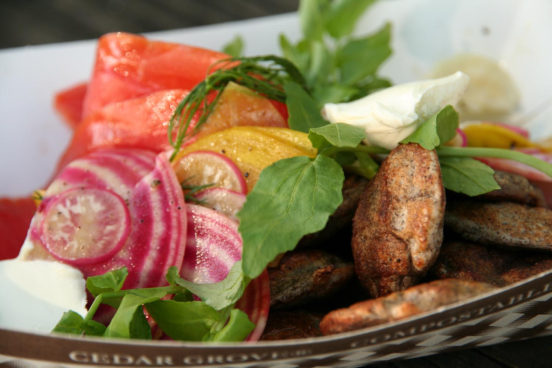 Lokified // Loki Fish Co. lox, Root Vegetable Salad, Créme Fraîche