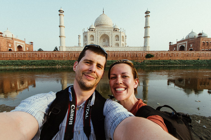 A scorchingly hot evening outside the famous Taj Mahal, Agra, India