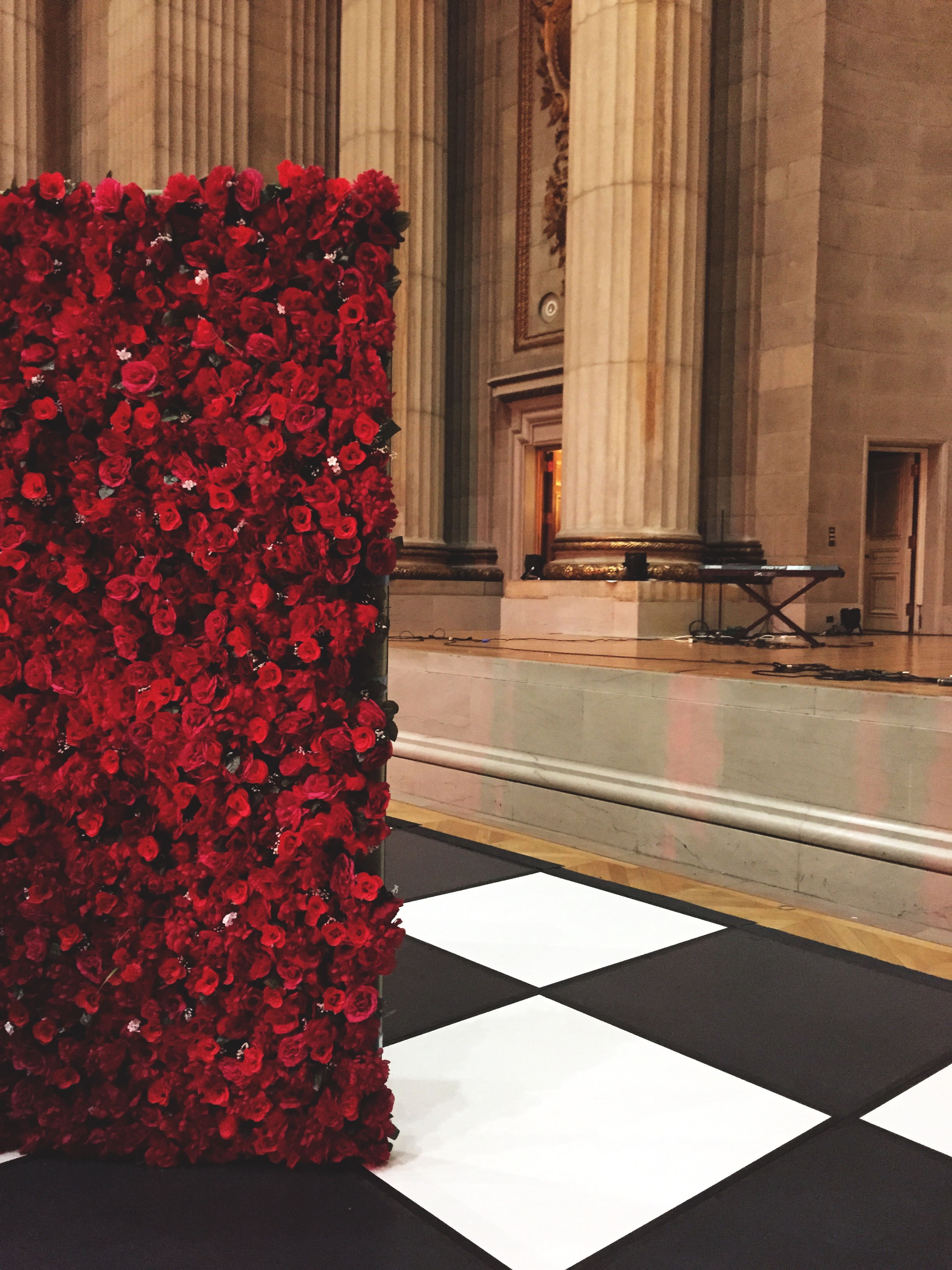 8 ft x 12 ft Rose Wall made with artificial silk flowers