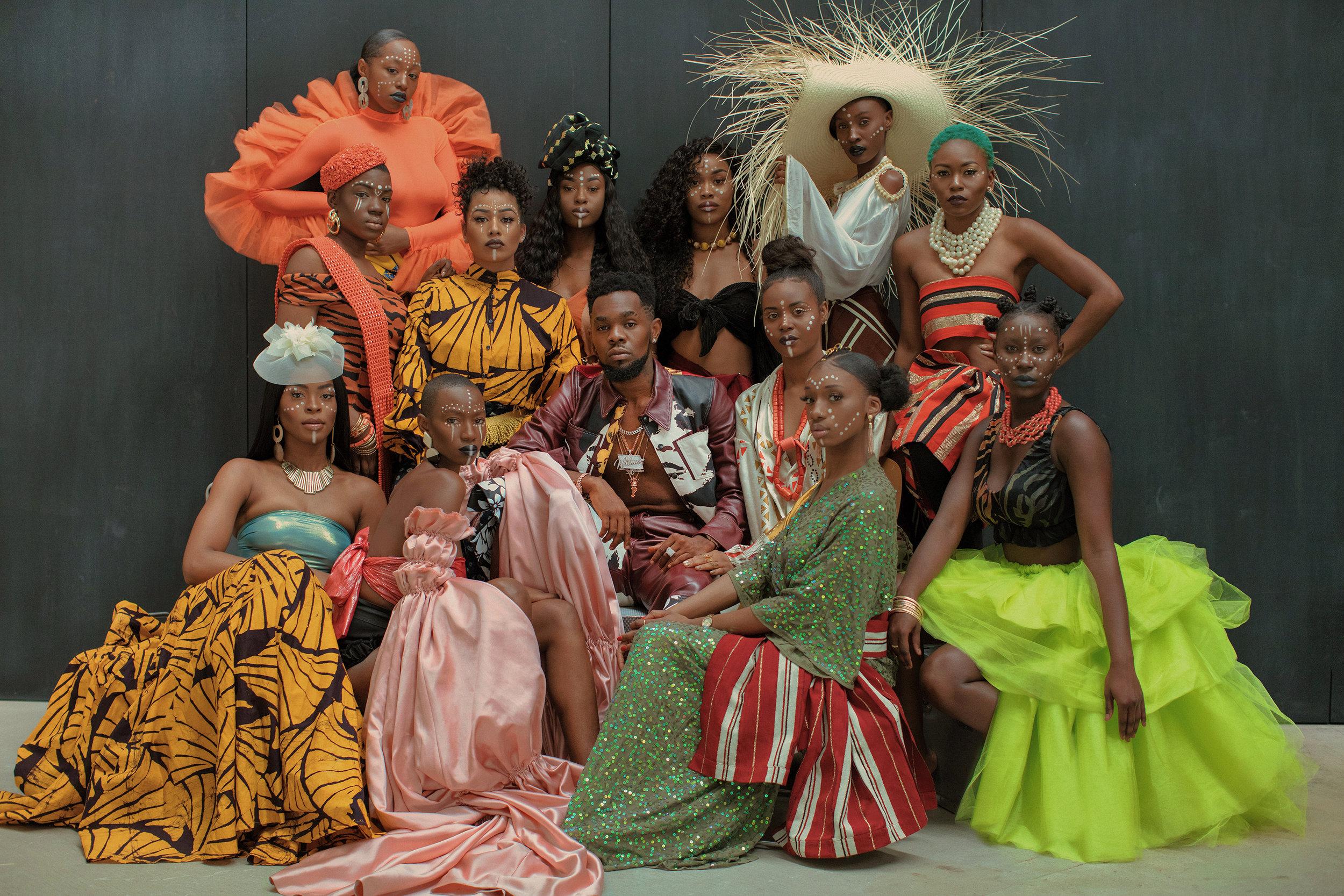 Patoranking wearing Tolu Coker, models wearing FordamRowe, Studio 189, Eki Orleans, and Taylor Goldenberg
