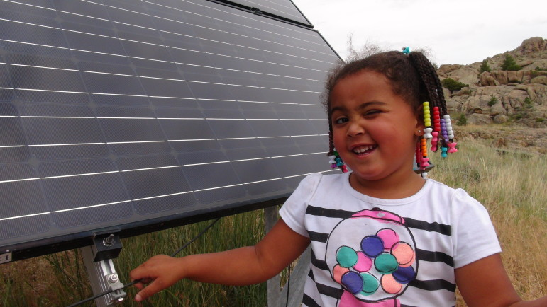 Mayla's great-grandparents installed solar panels and batteries at their home near Alcova, Wyoming. Leigh Paterson.