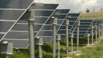 An array of solar panels provide emergency power to critical buildings at Fort Carson Army Base in the event of a blackout on the larger electric grid. May 26, 2015. Dan Boyce.