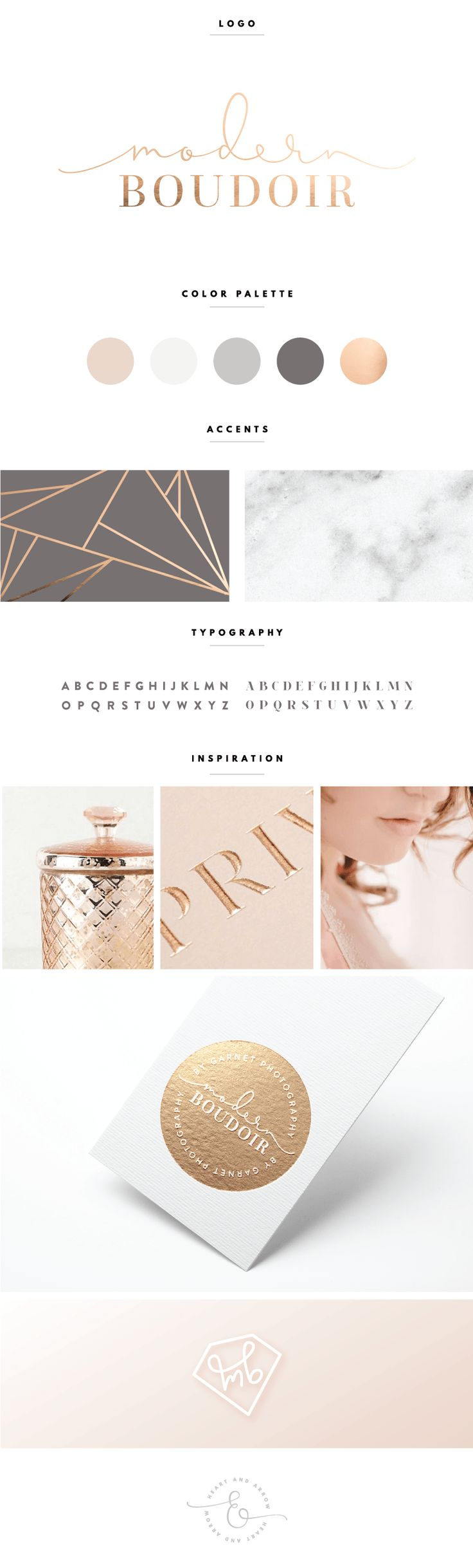 Charte graphique de la marque Modern Boudoir par Heart and Arrow design.