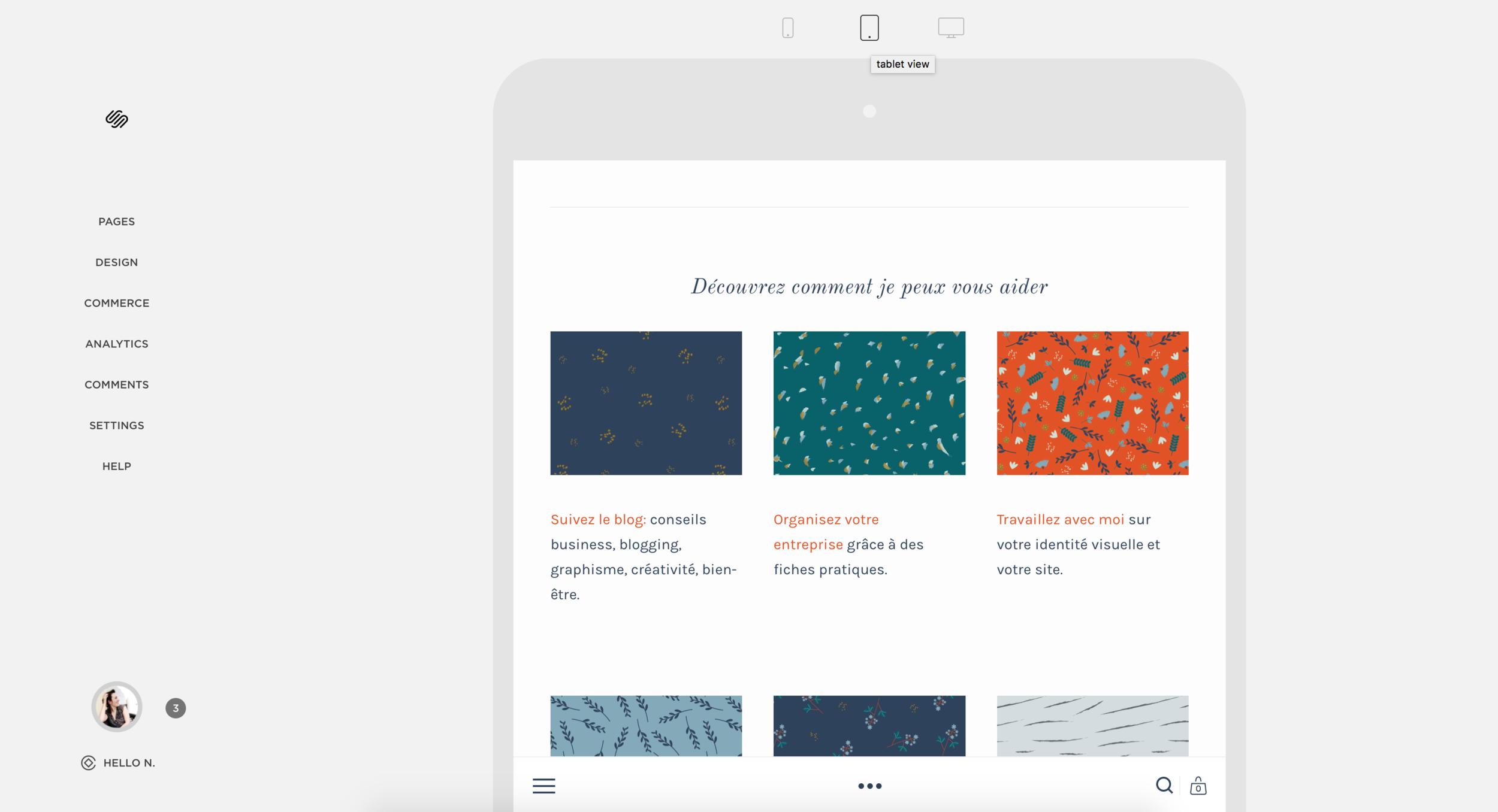 Visualisation du site sur tablette