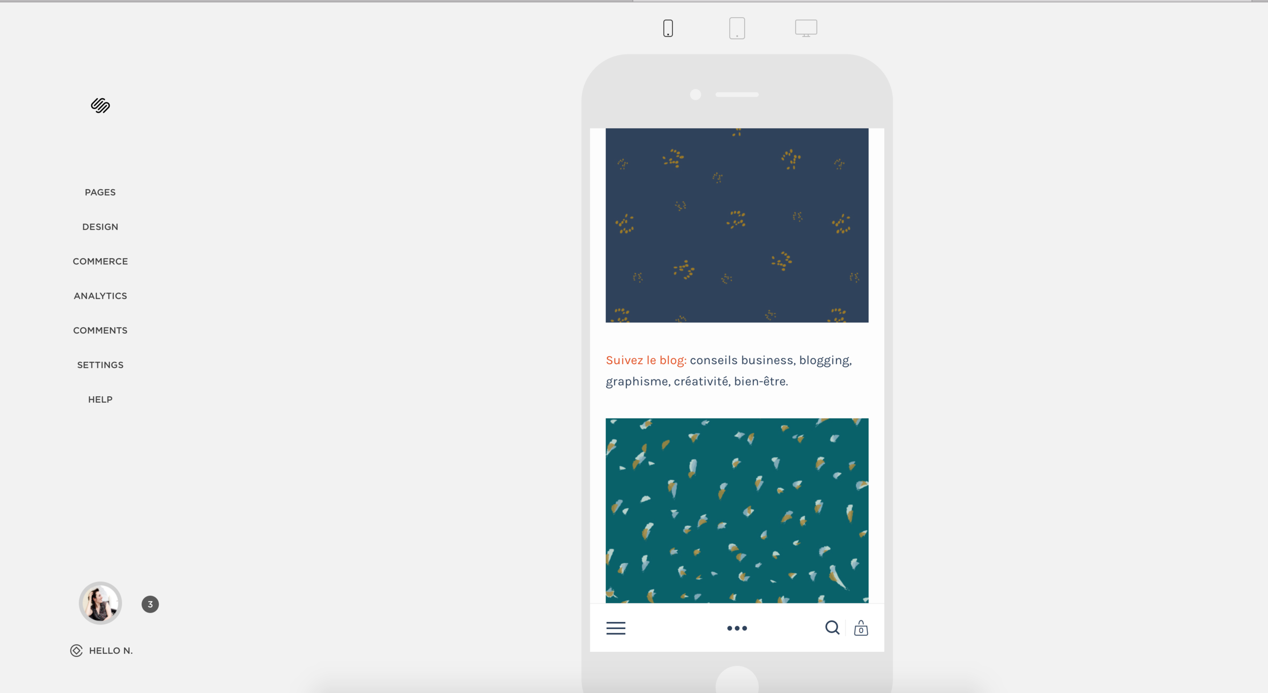 Visualisation du site sur Smartphone